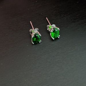 Evine Jewelry - Chrome Diopside Sterling Silver Oval Stud Earrings